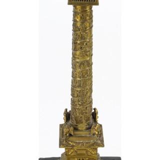 Antique French Grand Tour Ormolu Gilt Bronze Model of Vendome Column 19thC