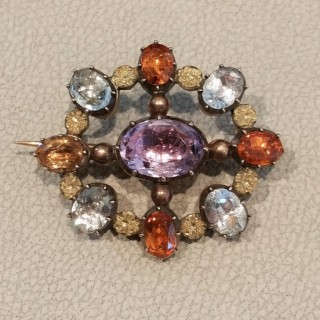 Antique multi gemstone brooch c.1830