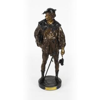 Antique 67cm Rakish Bronze Cavalier by Emile Picault 19th C