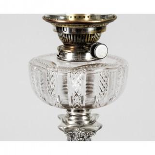 Antique Edwardian Sterling Silver Corinthian Column Table Lamp 1904