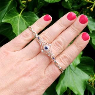 0.23ct Sapphire and 0.43ct Diamond, 18ct Yellow Gold Bracelet - Antique Circa 1920