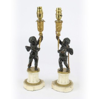 Antique Pair French Ormolu & Patinated Bronze Cherub Table Lamps 19th C