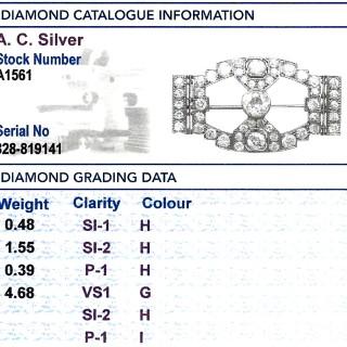 7.10 ct Diamond and Platinum Brooch - Art Deco - Antique Circa 1930
