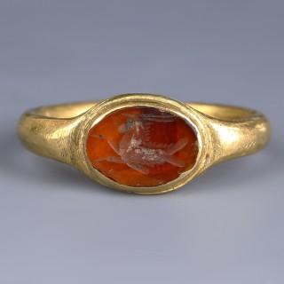 Gold Ring with Capricorn Intaglio