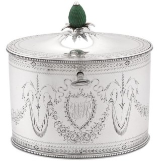 Sterling Silver Locking Tea Caddy by Henry Chawner - Antique George III (1786)
