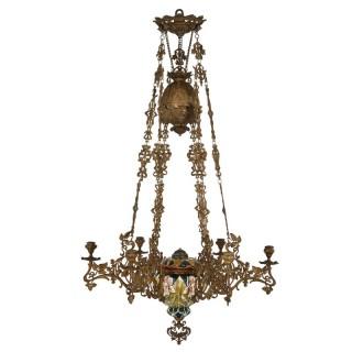 Aesthetic Movement spelter and majolica six-light chandelier