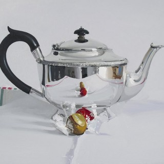 'Silver Teapot with two Chocolates' by Alan Kingsbury RWA (born 1960)