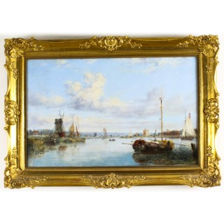 Antique Dutch Waterscape Oil Painting Circle of Pieter Cornelis Dommersen19thC