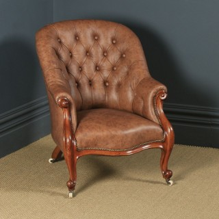 Antique English Victorian Mahogany & Tan Brown Leather Deep Buttoned Reading Armchair (Circa 1850)