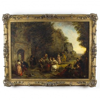 Antique Oil on Canvas Painting by Daniel Pasmore 88x114cm 1873 19thC