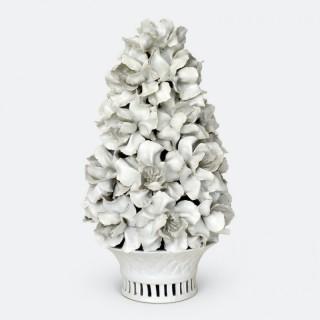 Italian White Glazed Floral Centrepiece, 1960s