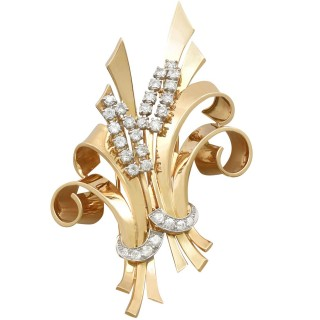 4.32 ct Diamond and 18 ct Yellow Gold Double Clip Brooch - Antique Circa 1930