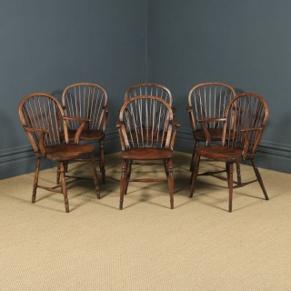 Antique English Set of Six 6 Victorian Ash & Elm Windsor Stick & Hoop Back Kitchen Dining Arm Chairs (Circa 1850)