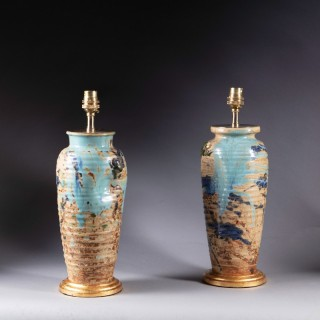 A pair of late Edo Japanese vases now as lamps