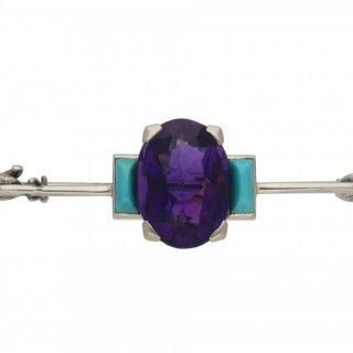 Cartier Art Deco amethyst and turquoise brooch, French, circa 1925.