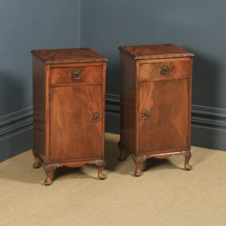 Antique Pair of English Queen Anne Style Flame Mahogany Bedside Cupboards Nightstands (Circa 1930)