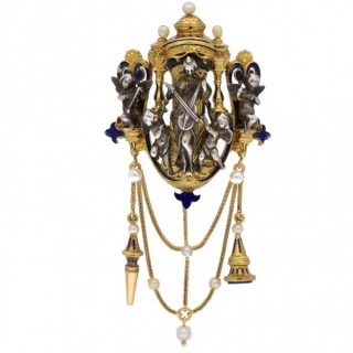 Saint Cecelia chatelaine pendant by Froment-Meurice, French, circa 1850.