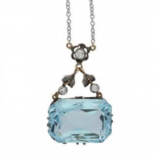 Aquamarine and diamond pendant, English, circa 1910.