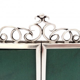 Antique Victorian Sterling Silver Double Photo Frame 1896