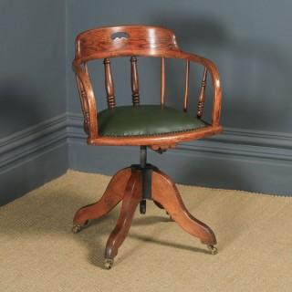 Antique English Edwardian Solid Ash & Oak Green Leather Revolving Office Desk Arm Chair (Circa 1910)