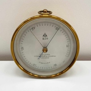Cased Victorian Met Office Issued Aneroid Barometer by J Hicks of London