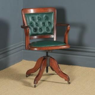 Antique English Victorian Mahogany Oak & Green Leather Revolving Office Desk Arm Chair (Circa 1890)