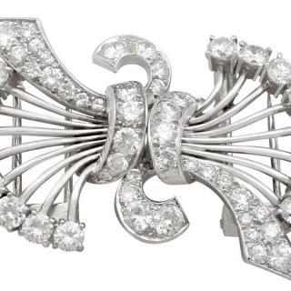 4.16ct Diamond and Platinum Double Clip Brooch - Art Deco - Antique Circa 1930