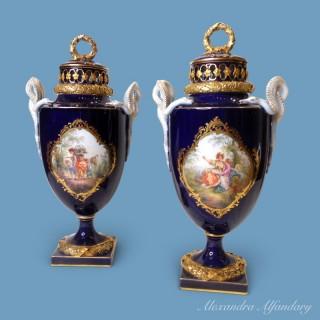 A Pair Of Cobalt Blue Meissen Potpourri Vases