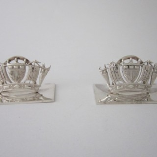 Antique Sterling Silver Nautical Menu/Place Card Holders - 1930