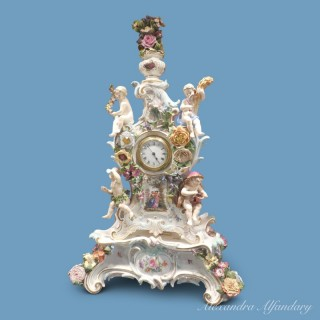 Meissen Four Season Clock And Stand