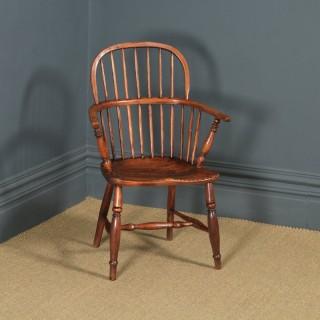 Antique English Single Victorian Ash & Elm Windsor Stick & Hoop Back Kitchen Dining Arm Chair (Circa 1840)