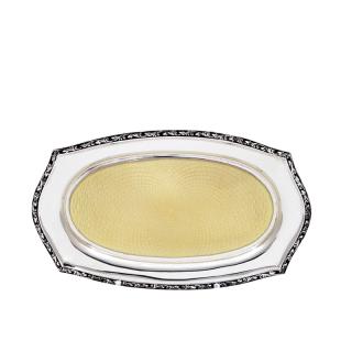 Antique Sterling Silver & Yellow Guilloche Enamel 6
