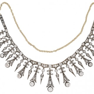 Antique diamond necklace/tiara, French, circa 1890.