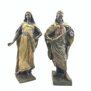PAIR OF POLYCHROME TERRACOTTA FIGURES OF AN ORIENTAL LADY AND ARAB SOLDIER BY FRIEDRICH GOLDSCHEIDER, 19TH CENTURY