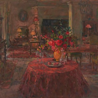 'Grand Salon with Red Roses' by Susan Ryder RP NEAC (1944)