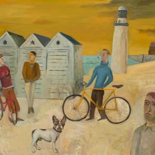 'Cyclists by the Sea' by Simon Quadrat PPRWA NEAC (born 1948)