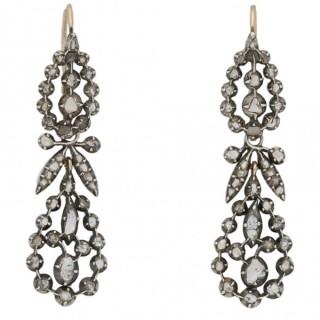 Early Victorian rose cut diamond drop earrings, English, circa 1850.