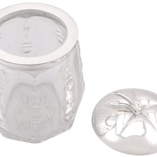 German Silver and Cut Glass Jar - Antique Circa 1930