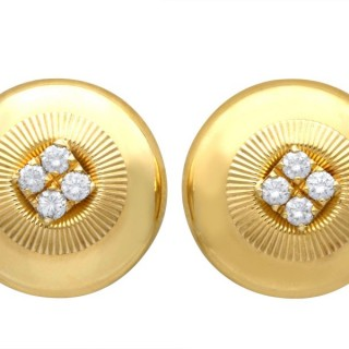 0.72 ct Diamond and 18 ct Yellow Gold Earrings - Vintage French Circa 1960