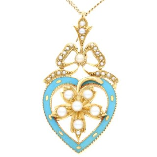 Seed Pearl, Enamel and 18ct Yellow Gold Pendant - Antique Circa 1890