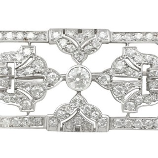 4.53ct Diamond and Platinum Brooch - Art Deco - Antique French Circa 1930