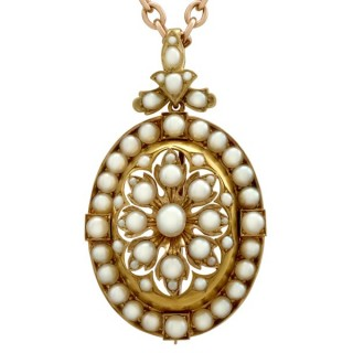 Seed Pearl and 18ct Yellow Gold Pendant / Brooch - Antique Victorian