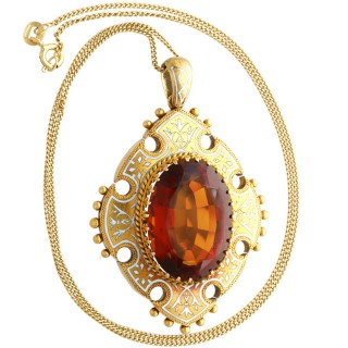 21.63ct Citrine, Enamel and 18ct Yellow Gold Pendant - Antique Victorian (1869)