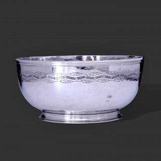A large Bernard Cuzner arts and crafts  silver bowl