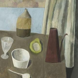 'Still Life with a Curtain' by Simon Quadrat PPRWA NEAC (born 1946)