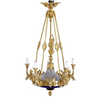 Neoclassical style gilt bronze and cobalt blue glass chandelier