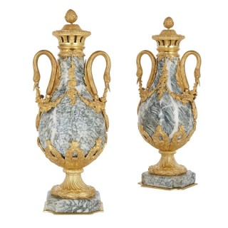 Pair of Neoclassical style gilt bronze and marble vases