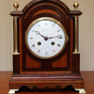 Mahogany and Satinwood Mantel Clock By Maple & Co.