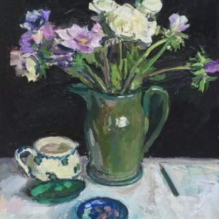 'Anemones and Ranunculus in a Green jug II' by Luke Martineau (born 1970)