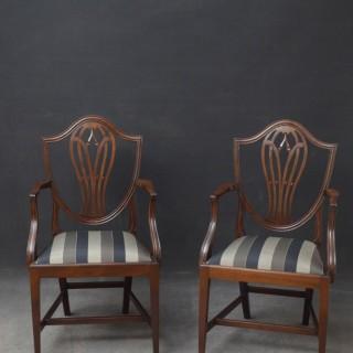 Pair of Hepplewhite Carver Chairs